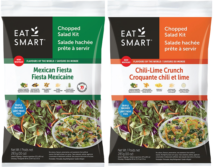 Two examples of the chopped salad kits that were recalled over possible Listeria contamination last month.