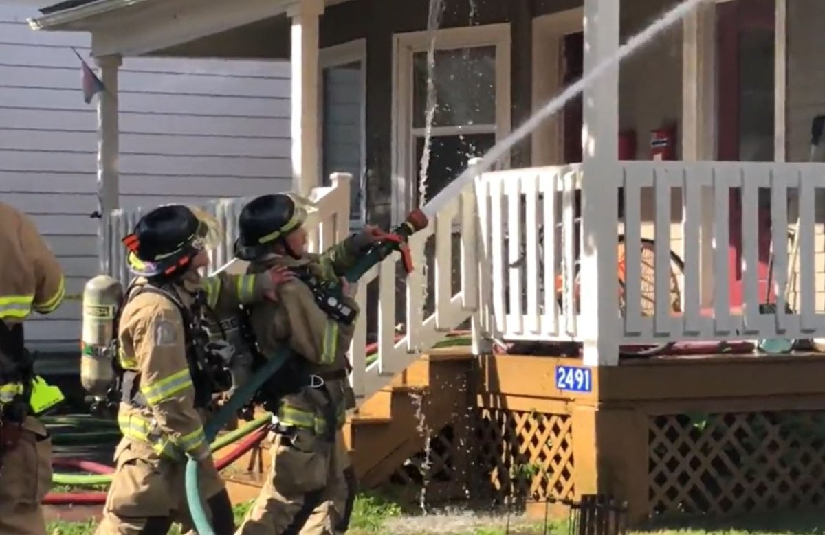 Crews were battling a house fire on Windsor Street in Halifax on Sunday.