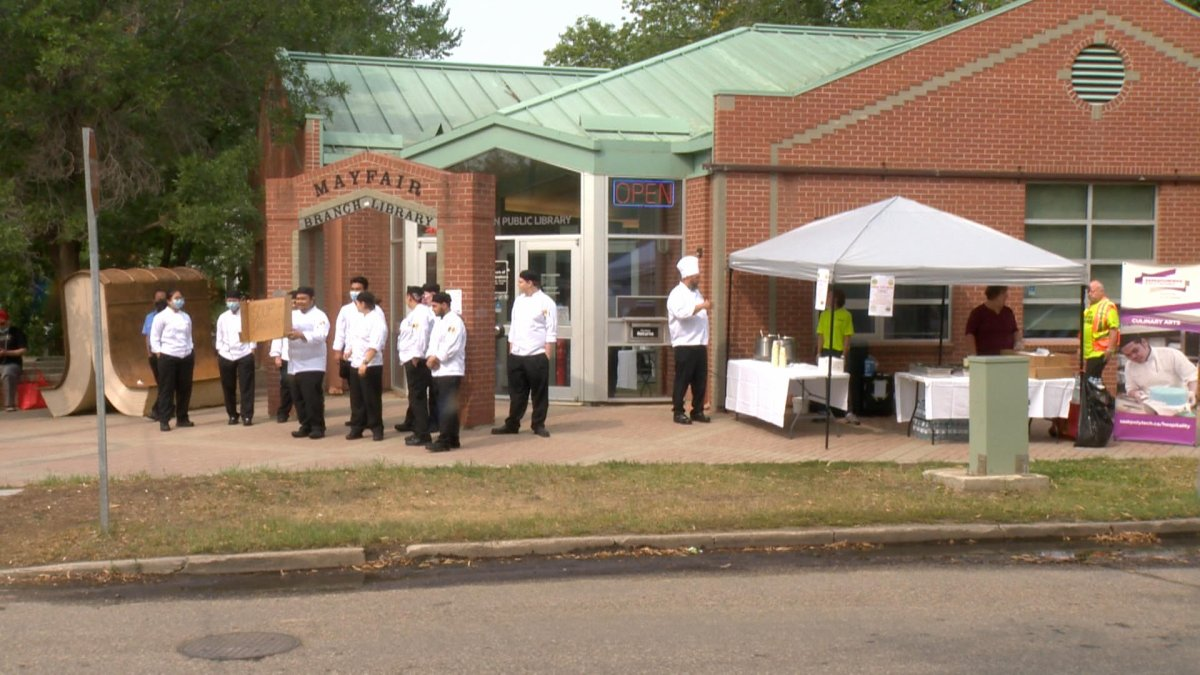 Free lunches were prepared and given out to feed those in need on 33rd Street in Saskatoon on Wednesday.