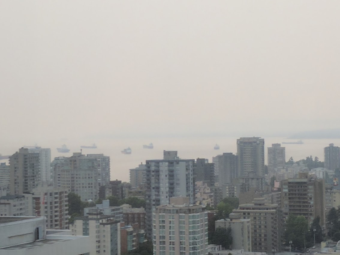 Smoke is seen clouding Vancouver's English Bay during the 2017 wildfire season.