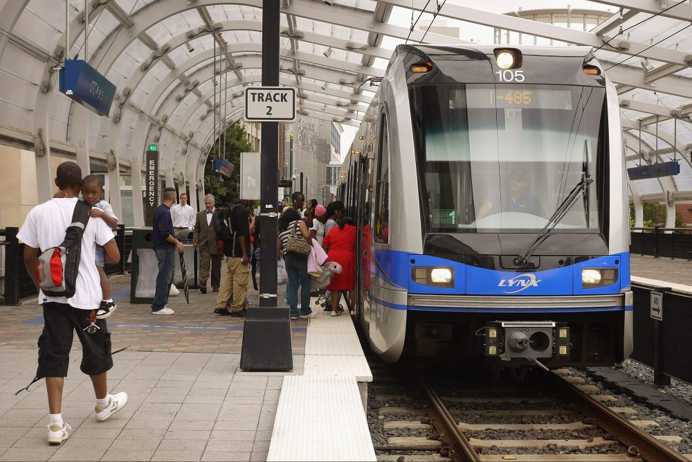 A LYNX light rail passenger train is shown in Charlotte, N.C., in this file photo from July 11, 2012.