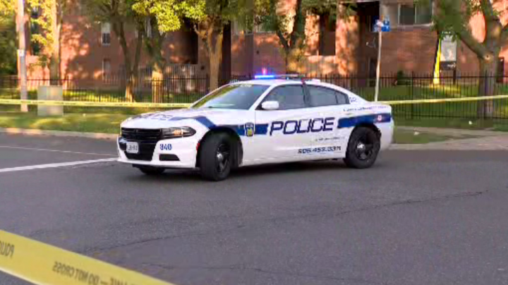 Peel police at the scene of the shooting in Mississauga on Monday.