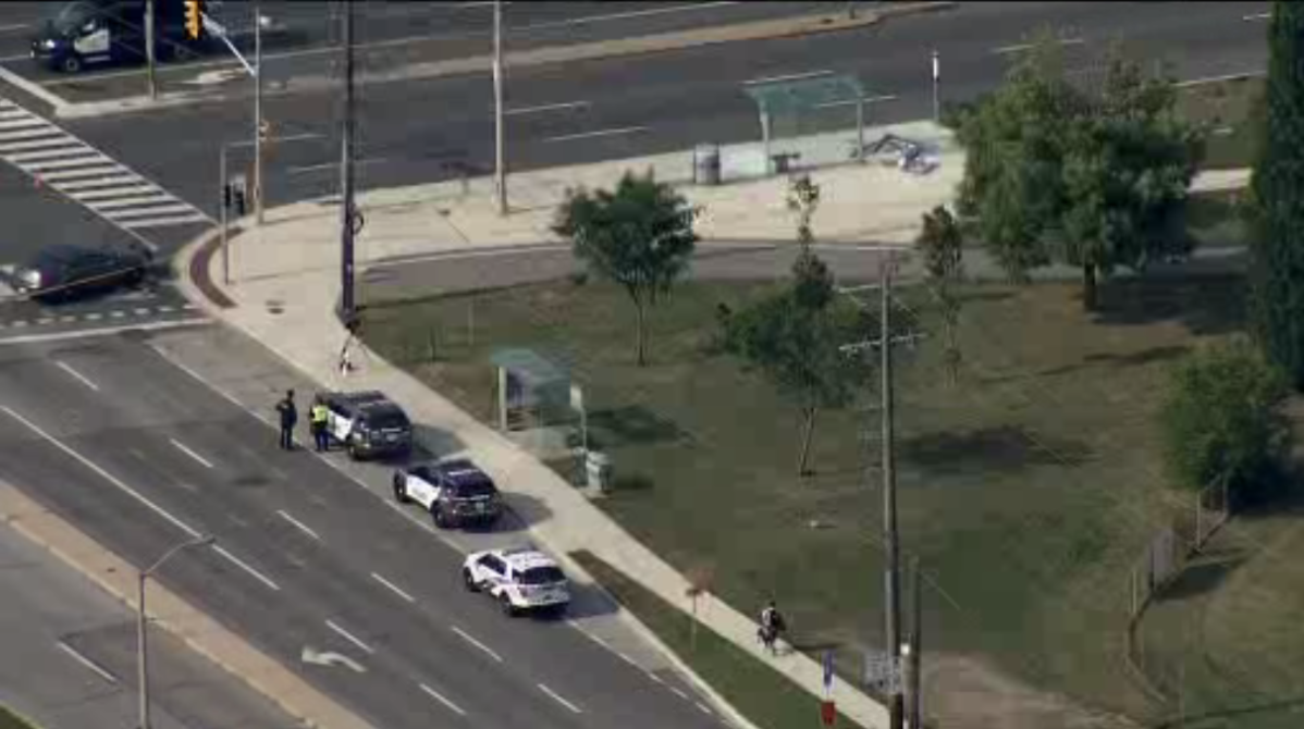 Police at the scene of the collision in Etobicoke on Tuesday.