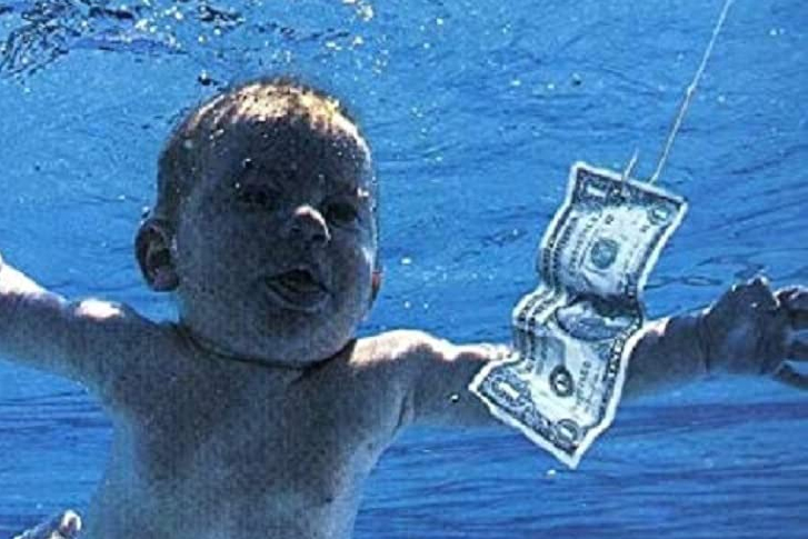 Cover art for Nirvana's 1991 album 'Nevermind' is shown.