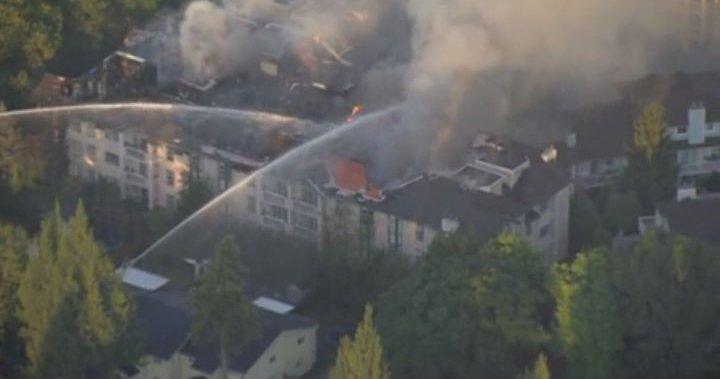 Large Surrey condo blaze displaces dozens of residents – BC