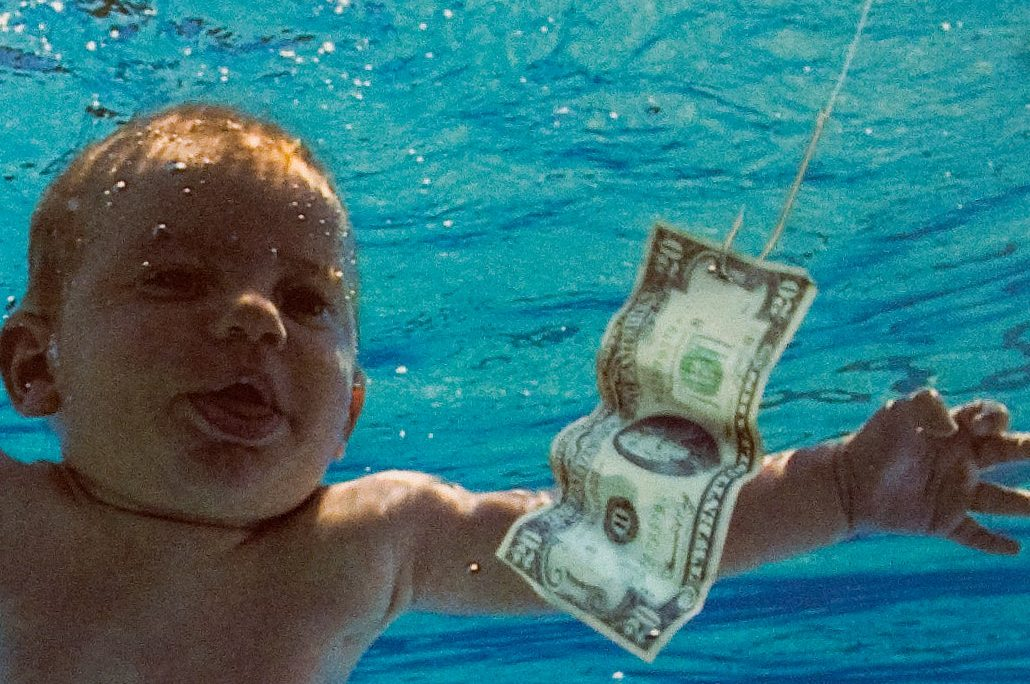 The cover of Nirvana's album 'Nevermind' is shown at an exhibit in London on Sept. 13, 2011.