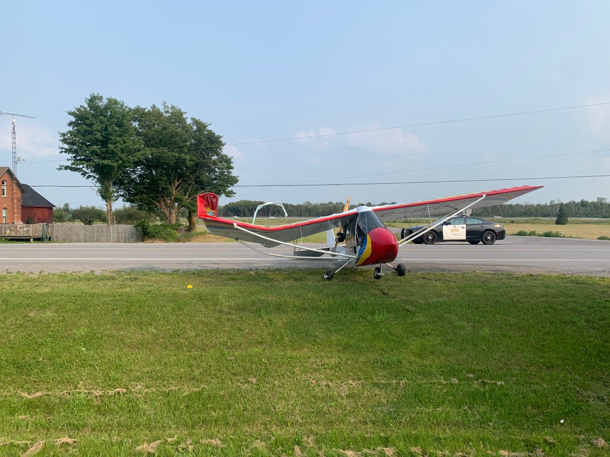 OPP say the lone occupant of the aircraft was not injured in the crash, which caused damage to a hydro pole. The cause of the crash is still under investigation.