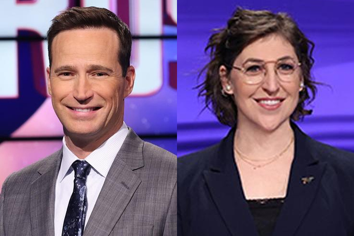 New 'Jeopardy!' hosts Mike Richards and Mayim Bialik are shown.