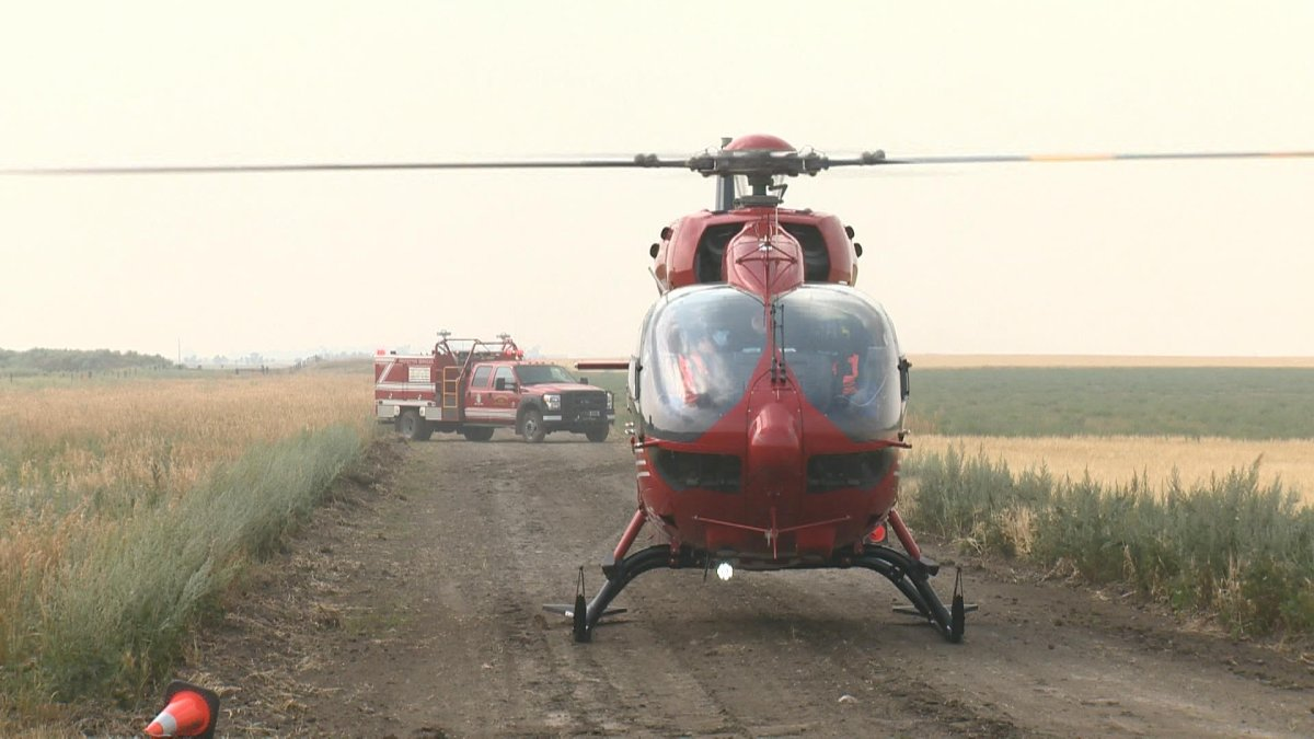A STARS helicopter landed near White City, Sask., to help launch the month-long focus on rural road safety.
