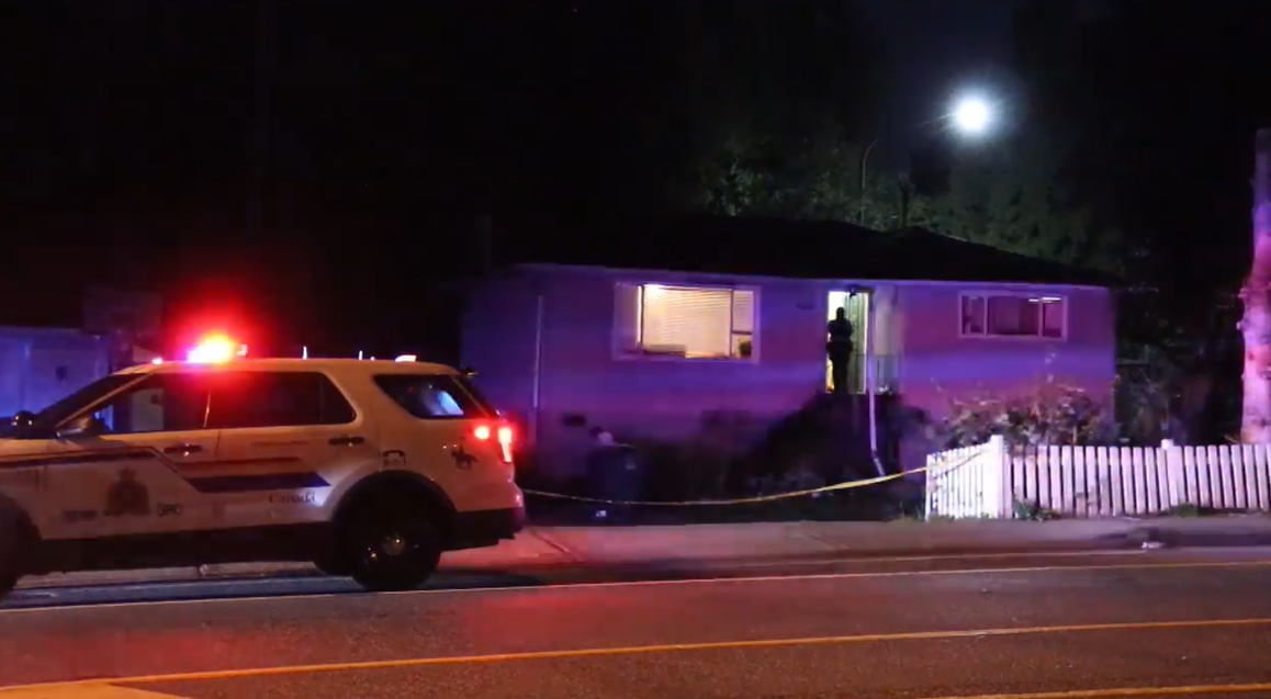 RCMP attend the scene of a shooting in Surrey early Sunday morning.