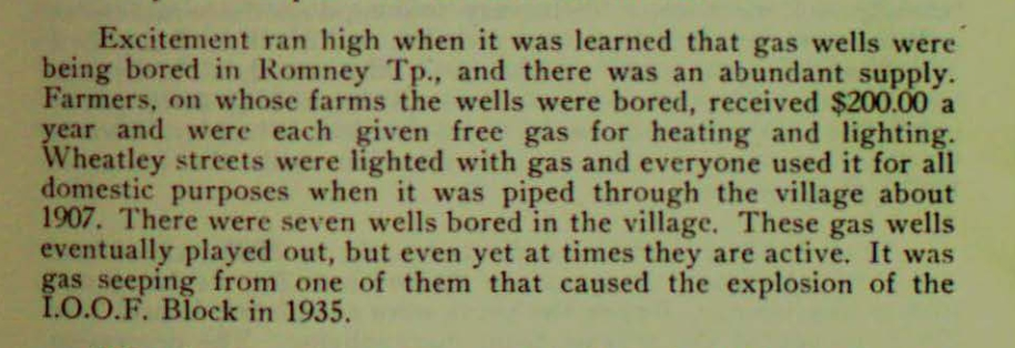 A brief mention in a Kent Historical Society book from the 1950s of an explosion in Wheatley, Ont., in 1935 that was caused by gas seeping from an abandoned well.