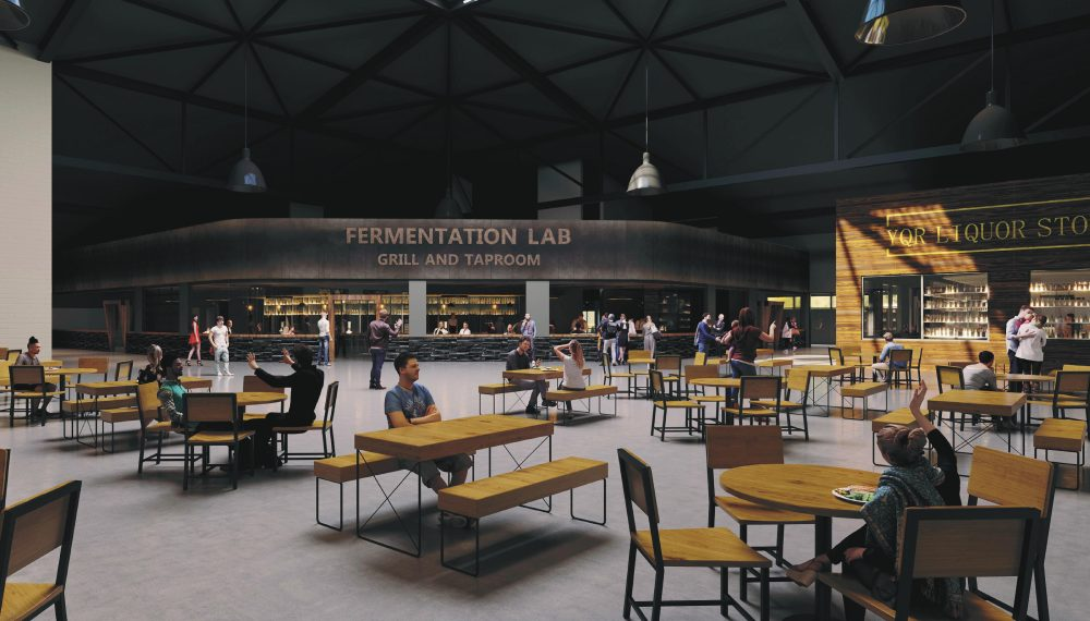 A rendered image of the commons event space planned for the new YQR Distillery facility.