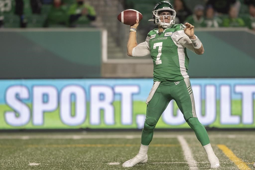 Saskatchewan Roughriders quarterback Cody Fajardo (7) throws the ball during the first half of CFL football action against the Toronto Argonauts in Regina on Friday, September 17, 2021. THE CANADIAN PRESS/Kayle Neis.