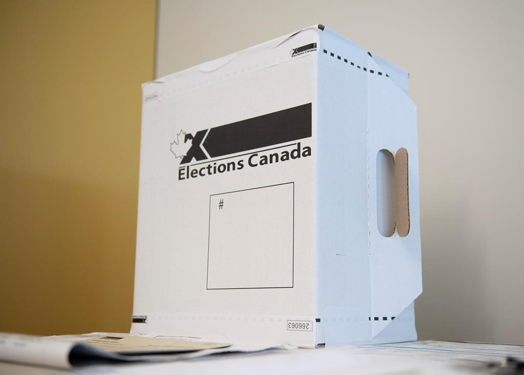 A sample ballot box is seen at Elections Canada's offices in Gatineau, Que., Friday, Sept. 20, 2019.