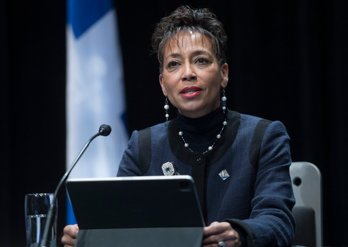 Quebec Minister of International Relations and La Francophonie Nadine Girault speaks during a news conference in Montreal, Monday, Dec. 14, 2020.