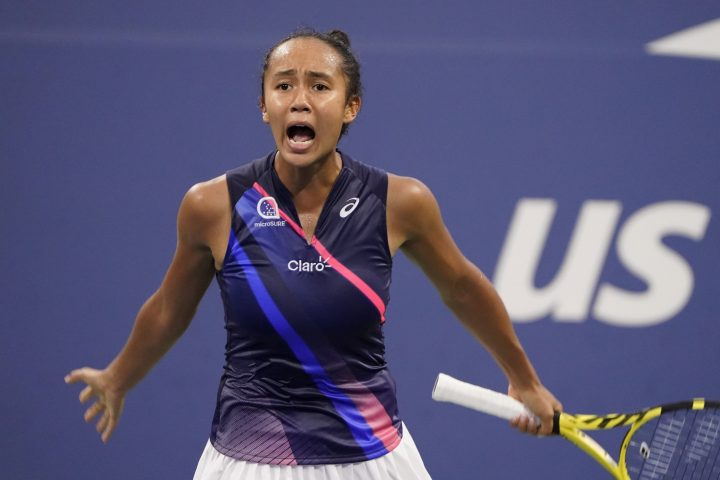 Leylah Fernandez, of Canada, reacts as she plays Angelique Kerber, of Germany, during the fourth round of the US Open tennis championships, Sunday, Sept. 5, 2021, in New York.