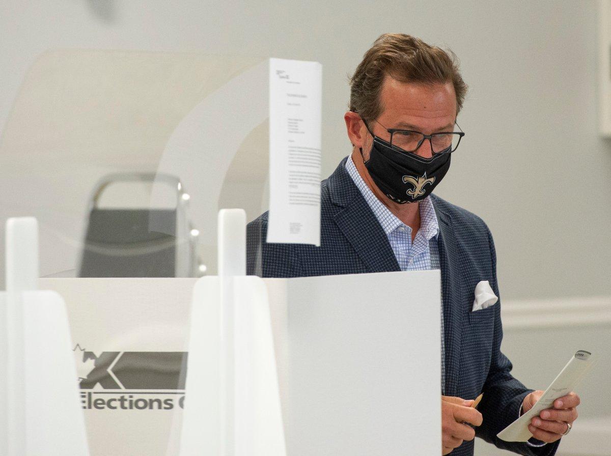 Bloc Quebecois leader Yves-Francois Blanchet casts his ballot