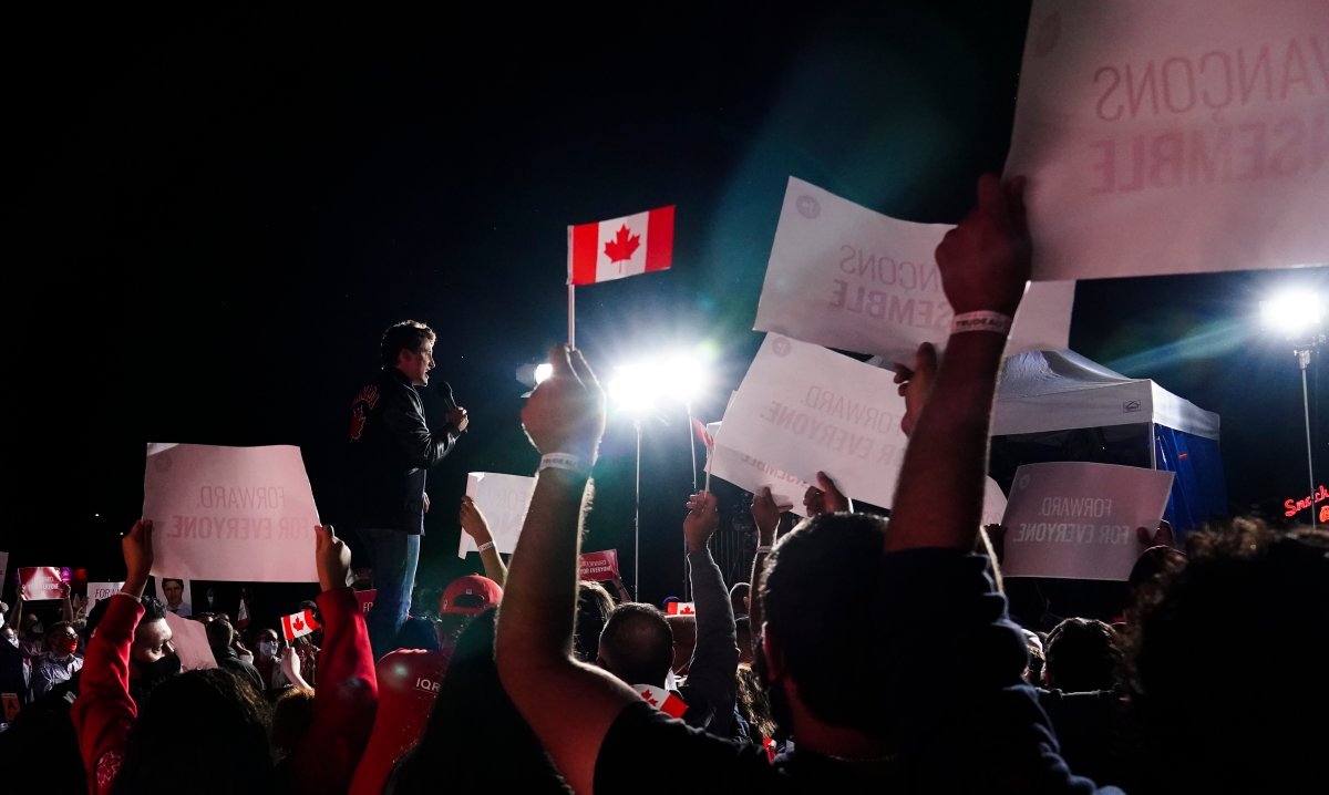 Liberal Leader Justin Trudeau holds a campaign rally at a drive-in theatre in Oakville, Ont., Sunday, Sept. 12, 2021.