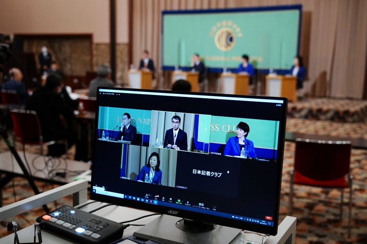 A computer monitor shows the live streaming of the candidates for the presidential election of the ruling Liberal Democratic Party speaking at a debate session hosted by the Japan National Press Club Sept. 18, 2021 in Tokyo.