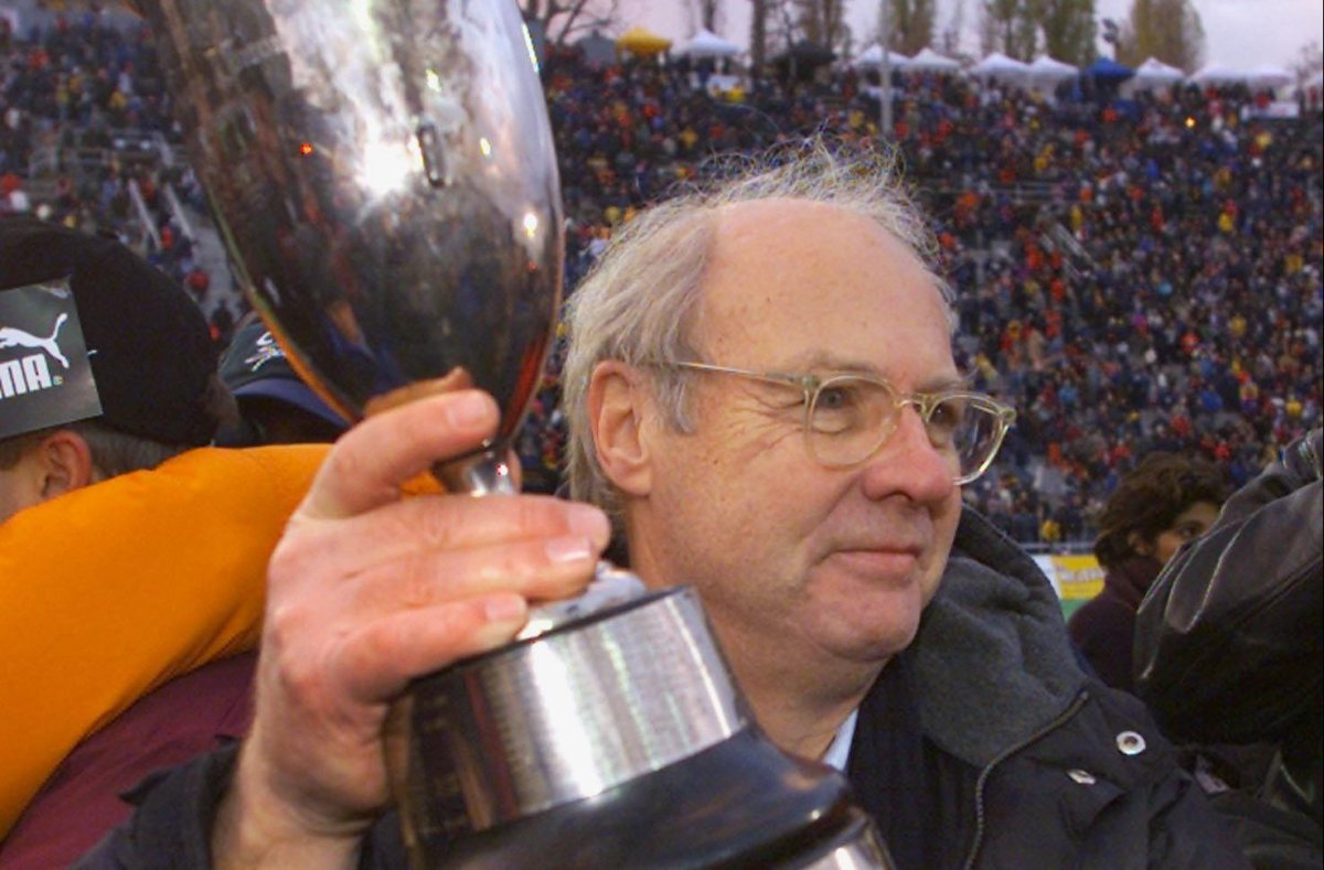 Montreal Alouettes owner Robert Wetenhall holds up the trophy after beating the Winnipeg Blue Bombers 35-24 to win the CFL Eastern Final Sunday, Nov. 19, 2000 in Montreal. The Alouettes move on to the Grey Cup next Sunday. (CP PHOTO/Paul Chiasson).