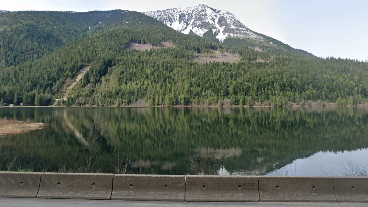 A view of Griffin Lake from the Trans-Canada Highway. Police in Revelstoke say the two men were screaming for help and weren't wearing lifejackets when their canoe capsized on Griffin Lake on Monday.