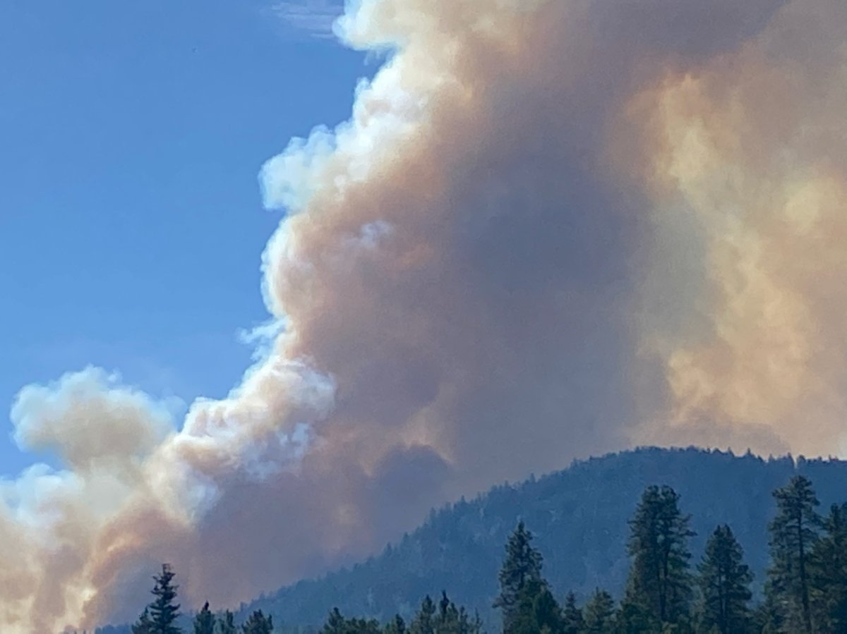 Smoke rises from the Hedges Butte wildfire located between Penticton and Apex Mountain, on Friday, Sept. 3, 2021.