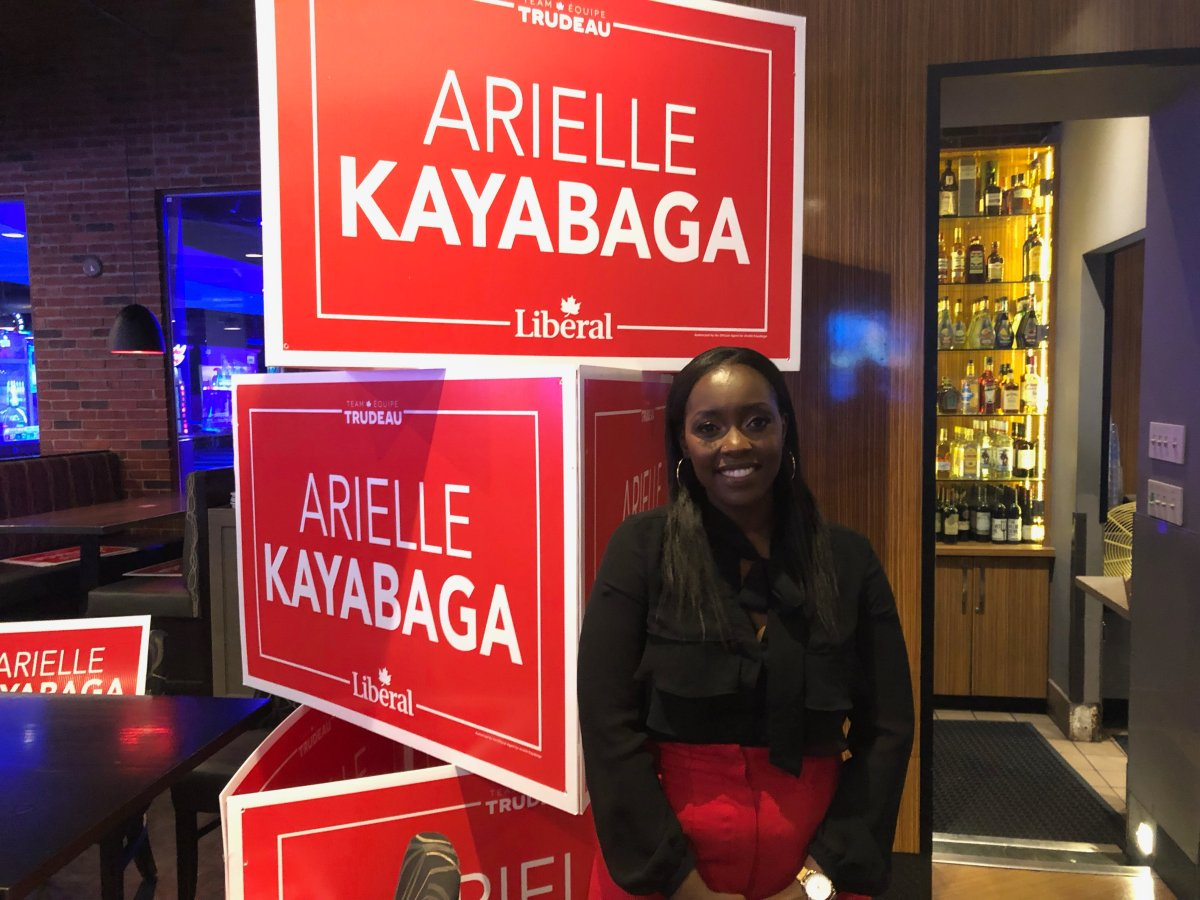 Liberal candidate for London West Arielle Kayabaga poses for a photo while celebrating her win with supporters at Palasad South on election night.