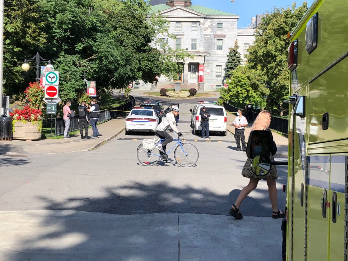 Montreal police are investigating after a receiving a call about a suspicious package at McGill University.