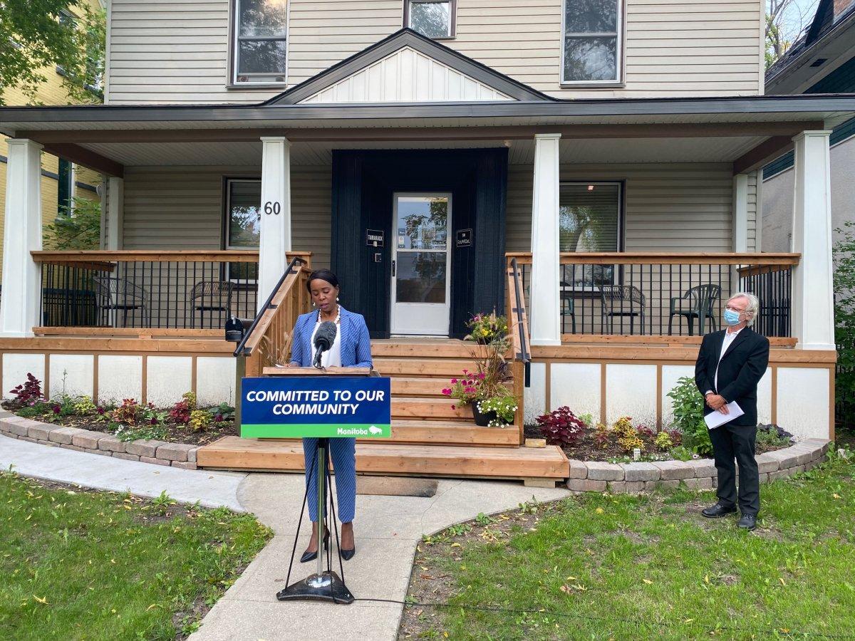 Mental Health Minister Audrey Gordon speaks outside Tamarack Recovery Centre in Winnipeg.