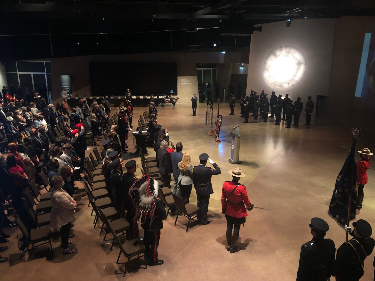 Various officials, police officers, their families, and others attended the Canadian Museum for Human Rights Sunday morning to honour those who gave their lives in the line of duty.
