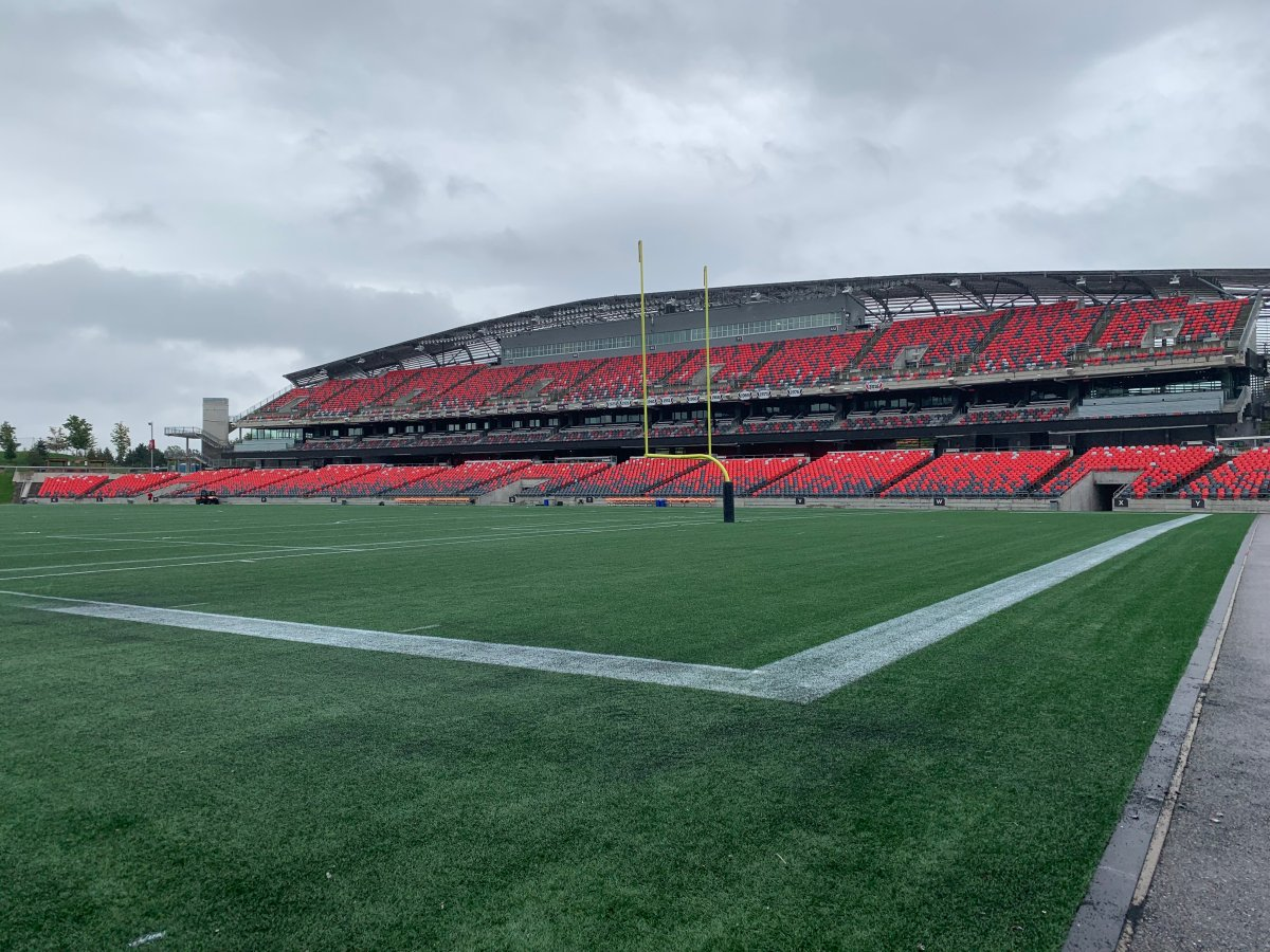 TD Place Stadium in Ottawa where the Edmonton Elks will play the Redblacks on Tuesday, September 28, 2021.