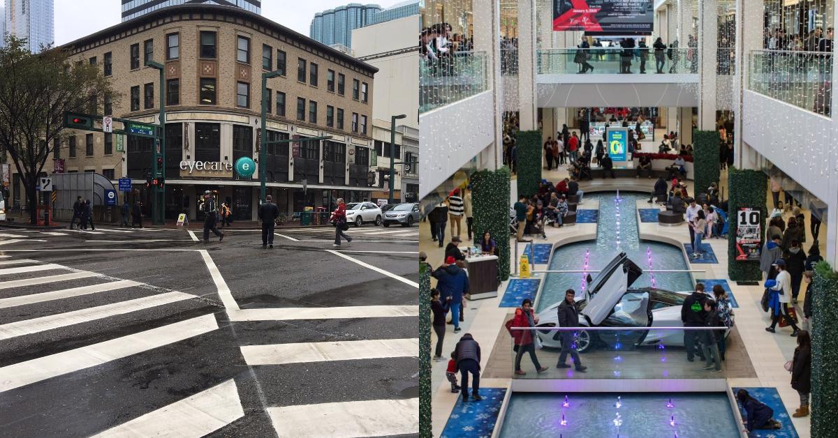Jasper Avenue in downtown Edmonton is seen in 2018 (left) and West Edmonton Mall on Thursday, Dec. 26, 2019 (right).