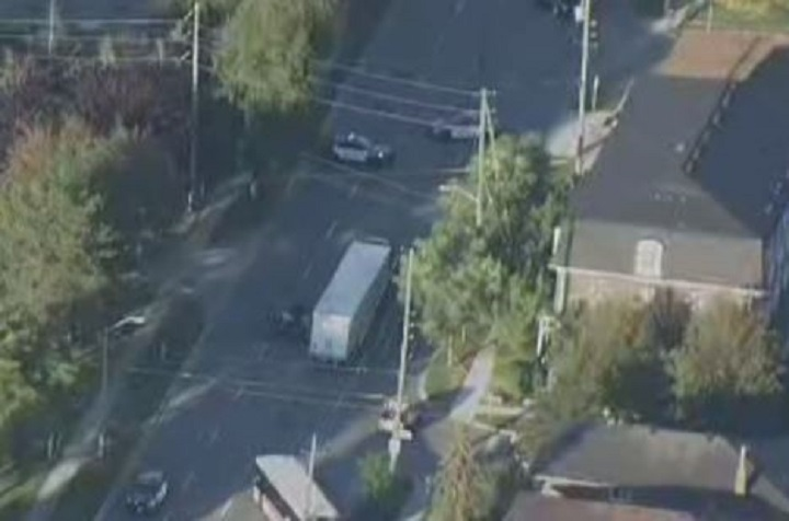 Aerial view of a crash near Browns Line and Horner Avenue.