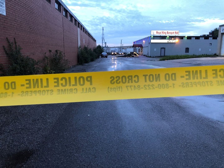 Police tape near Kipling Avenue and Rexdale Boulevard.