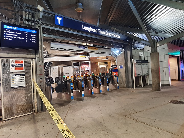 Transit Police are investigating a stabbing at the Lougheed Town Centre SkyTrain station.