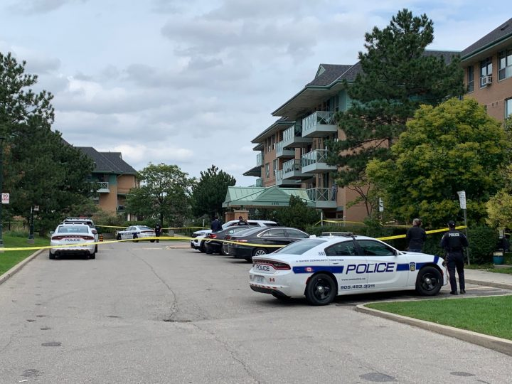 Peel police at the scene of the homicide in Mississauga on Saturday.
