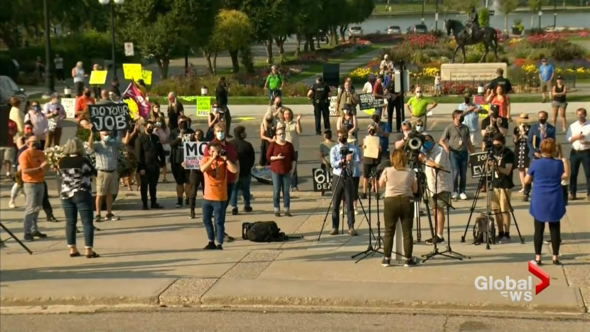 """The protest was held to call on Premier Scott Moe and Health Minister Paul Merriman to """"follow the science and implement evidence-based strategies to reduce the strain on our medical system and protect our children.""""."""