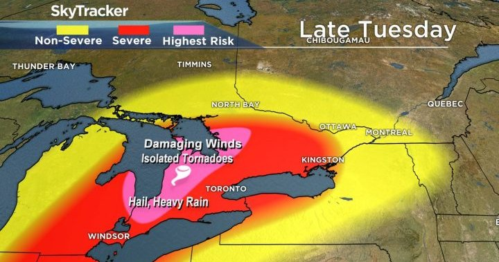 Tornado watch issued for parts of southern Ontario