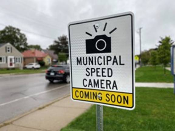 Signage identifying a location as an active Automated Speed Enforcement site in London Ont.