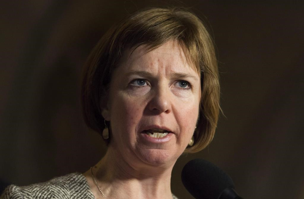 Sheila Malcolmson speaks with the media when she was an NDP MP in Ottawa on Thursday, November 30, 2017. The British Columbia government says a $132 million program that adds staff, beds and services across the province seeks to provide seamless and easier access to people requiring substance-use treatment and recovery care. THE CANADIAN PRESS/Adrian Wyld.
