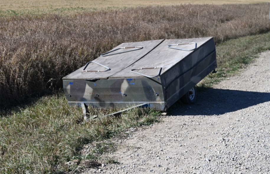 Human remains were discovered in this abandoned utility trailer east of Calgary Thursday, Sept. 30, 2021.