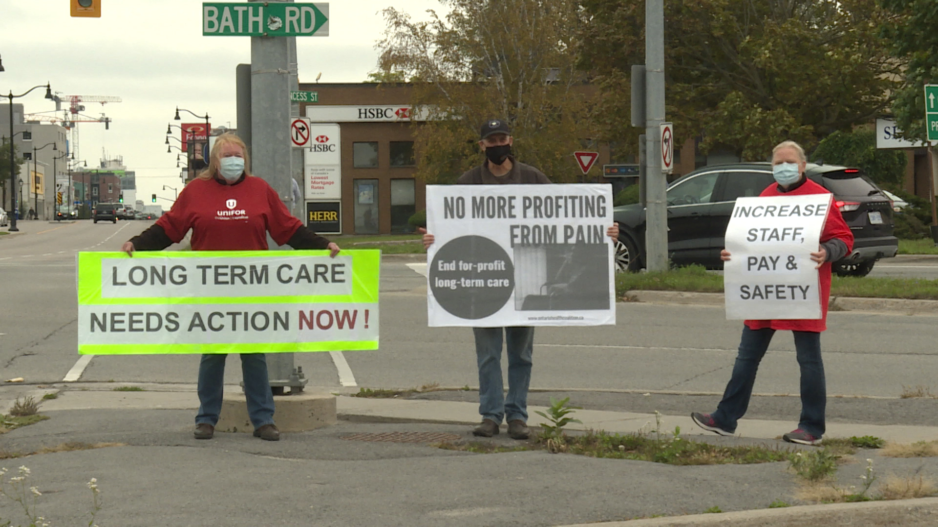 Protestors calling on the provincial government to do more to improve Long Term Care in Ontario.