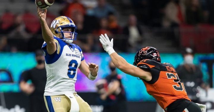 Winnipeg Blue Bombers dominate B.C. Lions in 30-9 win