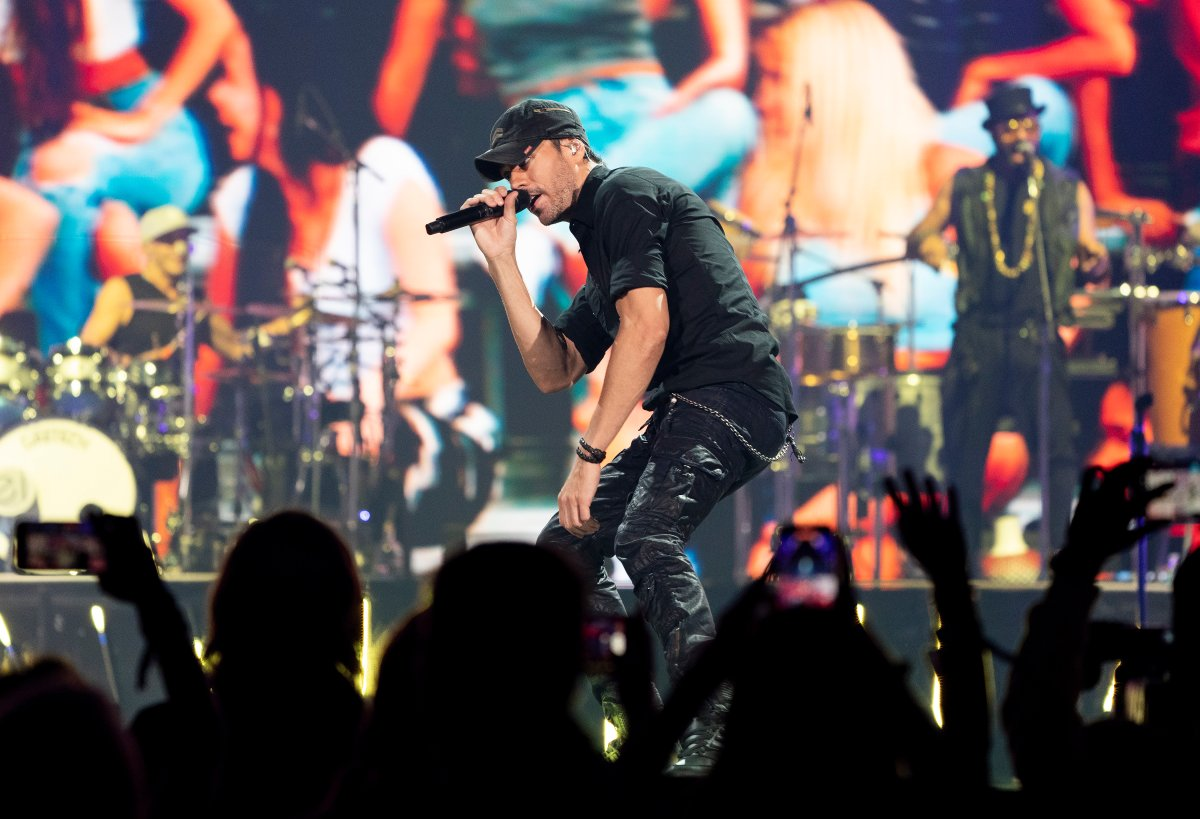Singer Enrique Iglesias performs live in front of fans during a concert in Toronto on Thursday, October 7, 2021.