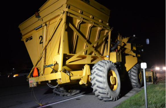 Delta police are searching for dash cam footage of this farm vehicle travelling northbound on Highway 17A on Oct. 1, 2021.