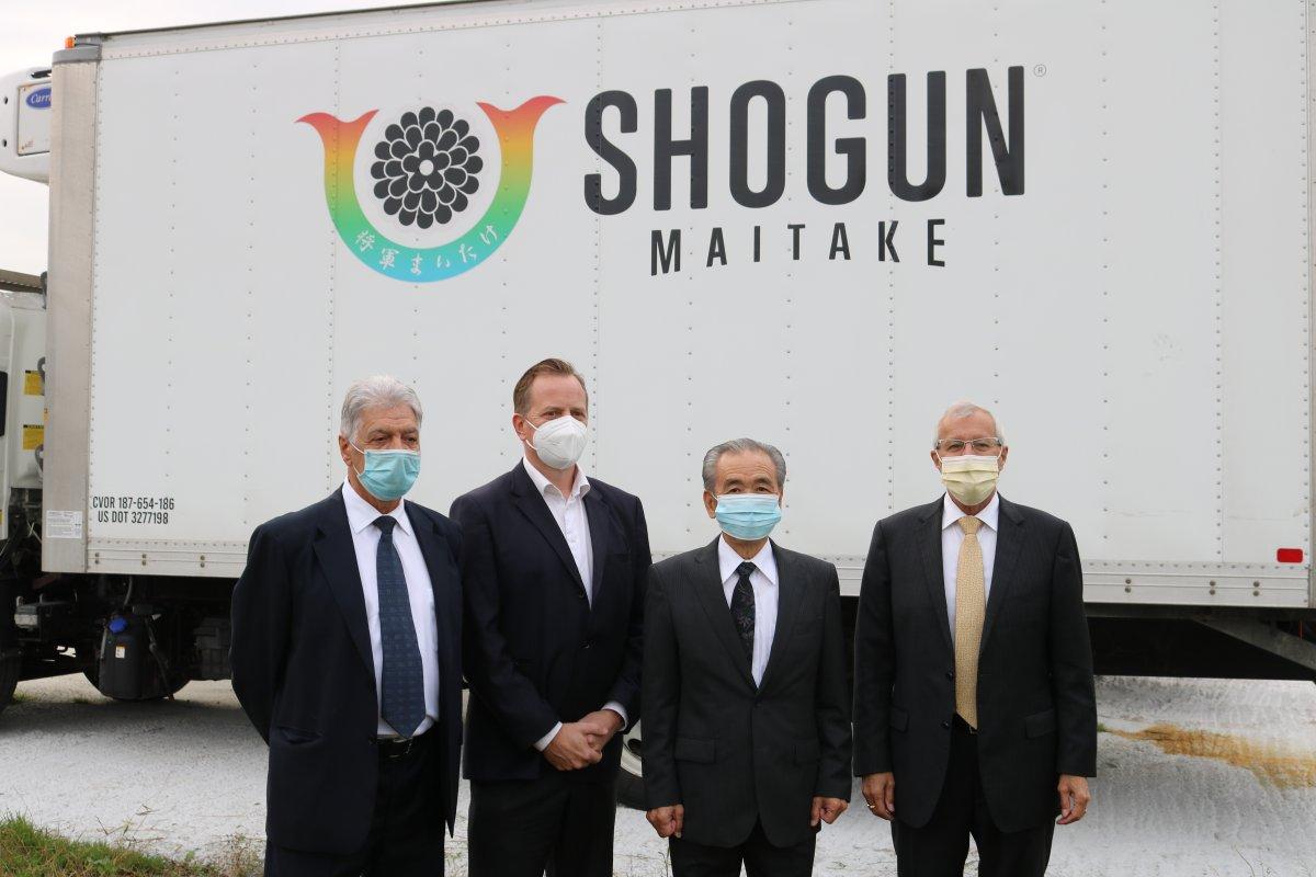 (Left to Right) VP of Shogun Maitake Canada Joe Fontana, MPP Jeff Yurek, CEO of Shogun Maitake Canada YoshinoduOdaira, and MPP Vic Fedeli outside the Shogun Maitake manufacturing plant in southwest London. Oct. 13, 2021.