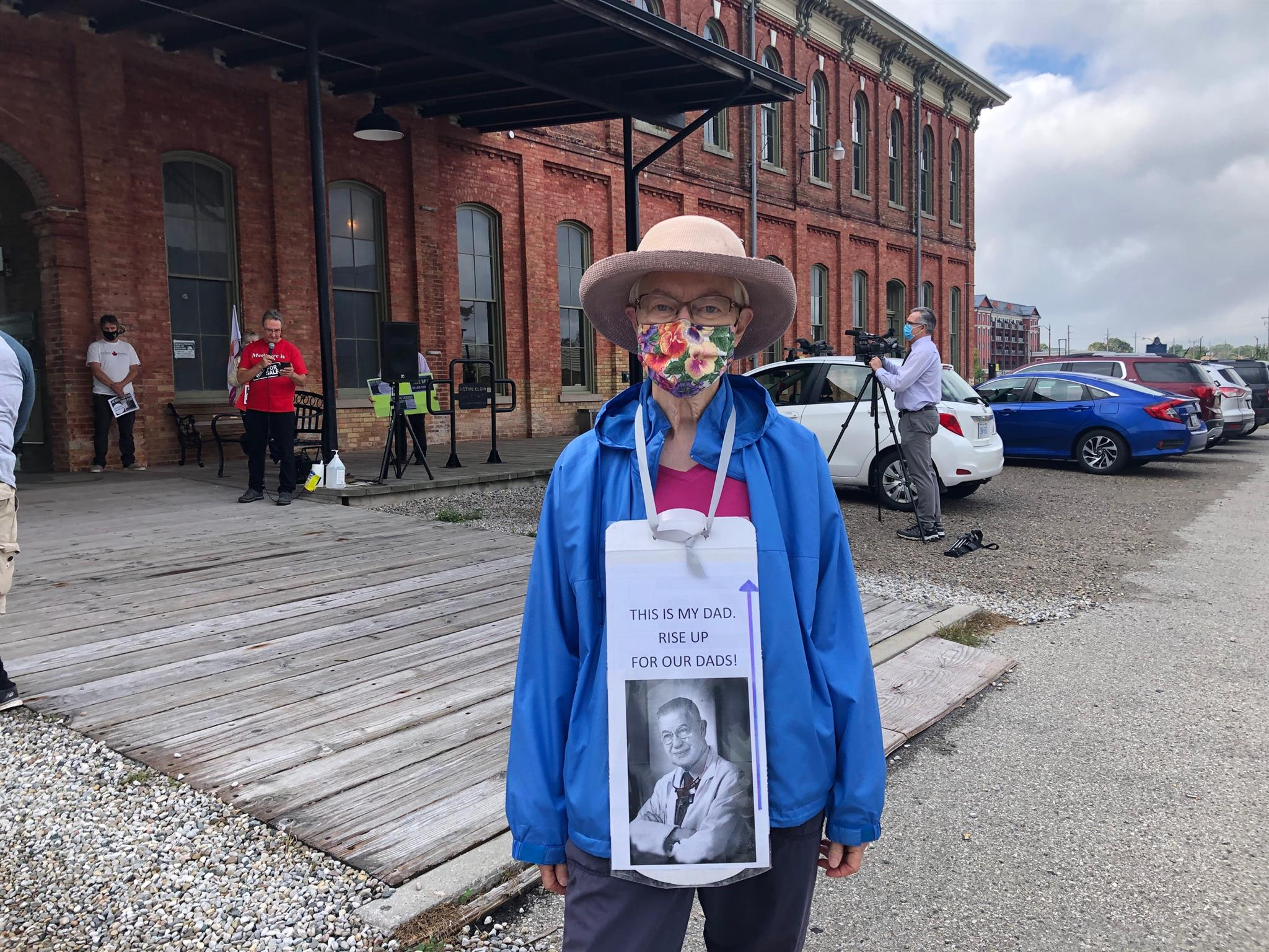 Susan Goldin at the Ontario Health Coalition's protest for long-term care homes in St. Thomas on Oct. 4, 2021
