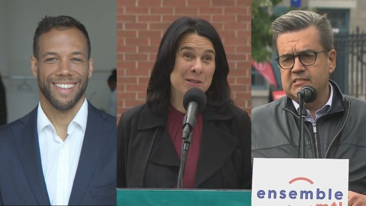 Montreal mayoral candidates from left to right, Balarama Holness, Valérie Plante and Denis Coderre.