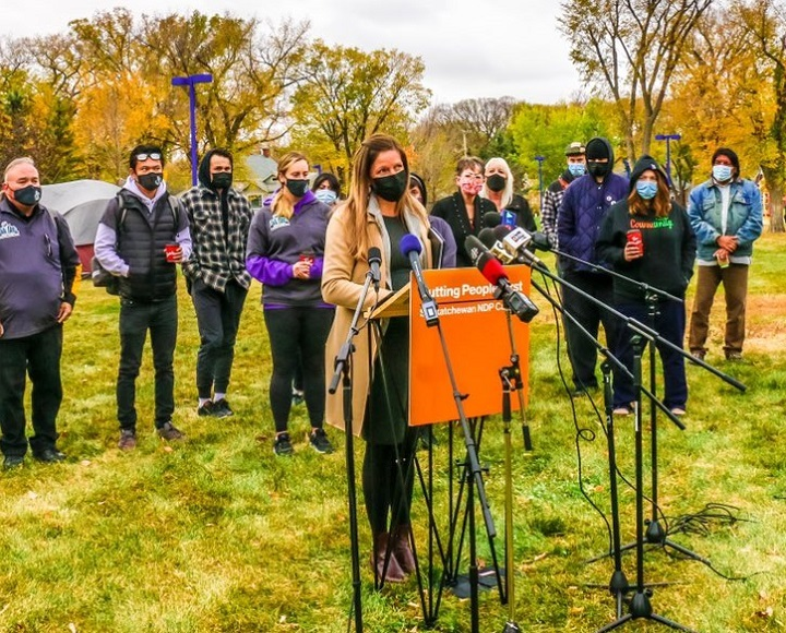 Meara Conway, NDP critic for social services, housing and human rights, addressed reporters during a media event on Oct. 12 at Pepsi Park in Regina.